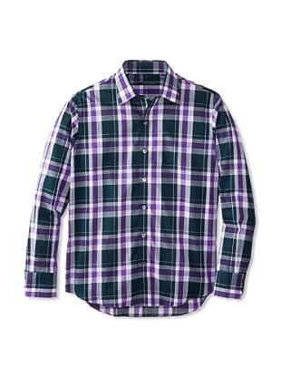 Zachary Prell Men's Samuelson Checked Long Sleeve Shirt (Purple/Deep Green)