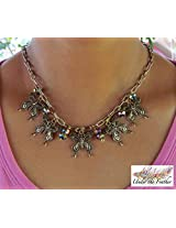 Under the Feather Charm Necklace- Bronze Butterfly