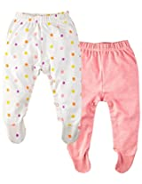 Infant Girls Leggings with Foot: Pack Of 2, Multi Colour (0-3 Months)