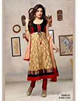 New Arrival Cream Red Long Length Cotton Anarkali Suit