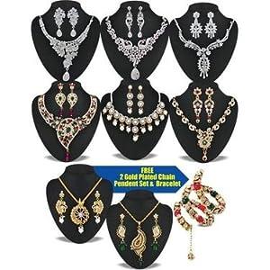 Aradhya CZ Diamond 6 Heavy Jewellery Set