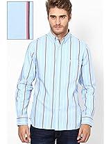 Light Blue Striped Casual Shirt