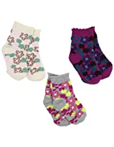 Country Kids Baby Girls' Fuzzy Flower 3 Pair Socks