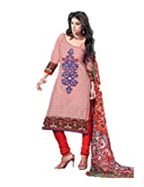 Admyrin Women's Cotton Embroidered Orange Salwar Kameez
