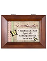Granddaughter Butterflies Beautiful Wood Finish Jewelry Music Box - Plays Tune You Are My Sunshine