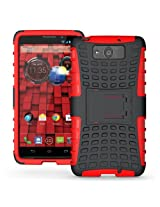 JKase DIABLO Series Tough Rugged Dual Layer Protection Case Cover with Build in Stand for Motorola Droid Ultra XT1080 - Red