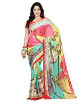 Admyrin Multi Colour Printed Saree with Orange Blouse Piece