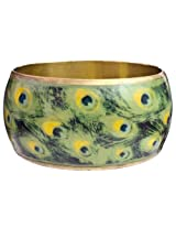 Peacock Feather Bangle - Brass