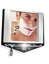 Zadro Z'Fogless Fog-Free LED Lighted Shower Mirror with LCD Clock - Stainless Nickel