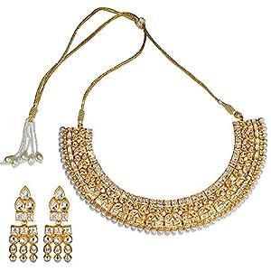 Pearl Paradise Cz Necklace-Set Gold Finish