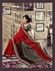 Bhagalpuri Silk Printed Red Saree