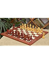 Chessbazaar Combo Of Ferocious Elite Series Chess Set In Bud Rose / Box Wood & Red Ash Burl And Maple Board
