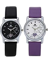 IIK Collection Combo of Women's analog Watches, Round Black Dial with Black Leather Strap & Round White Dial With Purple Leather strap IIk-1503W-1502W