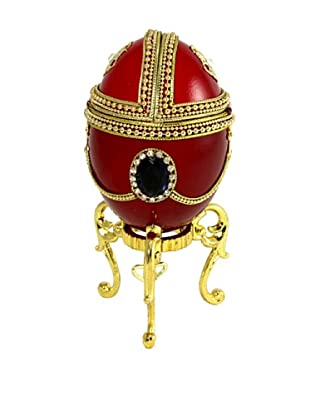 Kingspoint Designs Hand Painted Egg Musical Box Adorned with Crystals, Red