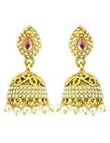 Peora Cut-Work Traditional Jhumkis for Women (Pink)
