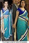 Bollywood Replica Madhuri Dixit Net Saree In Blue Colour NC406