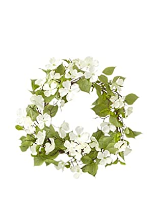 Melrose International Indoor/Outdoor White Dogwood Blossom Wreath
