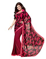 Pink Beige Georgette Party Saree with Unsitched Blouse 15902