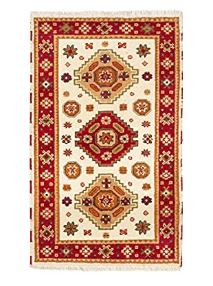 Hand-Knotted Royal Kazak Rug, Cream/Red, 3' 1