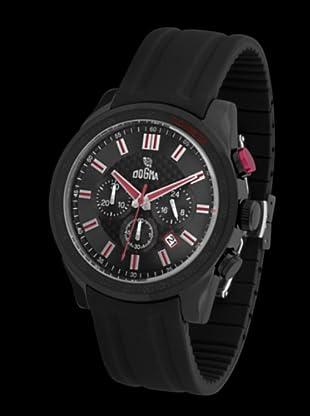 Dogma CRONO294 - Reloj de Caballero movimiento de quarzo con correa de caucho rojo