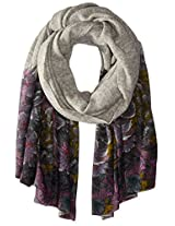 La Fiorentina Women's Tapestry Floral Wool Scarf, Grey, One Size