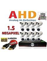 8CH AHD DVR+ 8PICS BULLET 1.5 MEGAPIXEL CAMERA+8PICS DOME 1.5 MEGAPIXEL CAMERA FREE HDMI CABLE NOTE:: NO HARD DISK