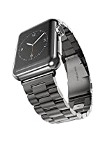 Apple Watch Strap, Monoy Premium Stainless Steel Metal Replacement Watchband Classic Surface Finish Apple iWatch Band Strap with Precise Secure Folding Clasp for Apple Watch 42mm