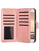 ULAK Luxury PU Leather Wallet for Samsung Galaxy S6 Folio Case Protective Magnetic Flip Cover with 9 Credit Card Slots Cash Holder Wrist Strap (Coral Pink)