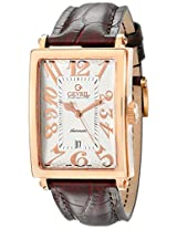"Gevril Men's 5100A ""Avenue of America"" Rose Gold-Tone Watch with Brown Leather Strap"
