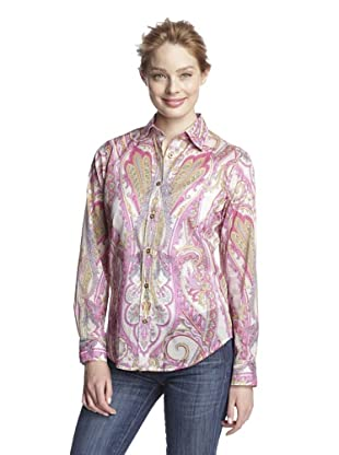Craig Taylor Women's Windsurfer Paisley Shirt (Pink/Yellow/Lavender/White)