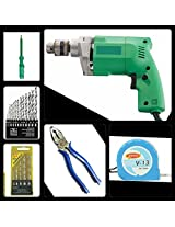 MULTIPURPOSE TOOL KIT WITH 10MM DRILL MACHINE FOR HOUSEHOLD & PROFESSIONAL USE