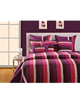Swayam Magical Linea Stripes Cotton Bedsheet with 2 Pillow Covers - King Size, Multi Stripes