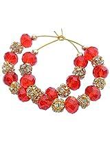 Foppish Mart Cherry Red Stone Studded Hoops For Women