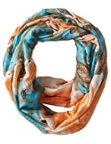 La Fiorentina Women's Floral Infinity Scarf, Blue/Gold, One Size