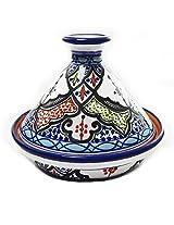 Le Souk Ceramique CT-TIB-22 Cookable Tagine, 9-Inch, Tibarine Design