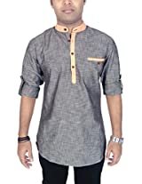 AA' Kuons Avenue Mens Charcoal Linen Cotton Mandarin Collar Long Sleeve Solid Casual Kurta