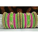 Silk thread pink and green bangle set