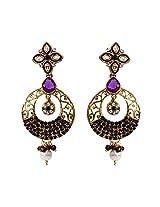 Unicorn's Ethnic Dangle Earring for Women with Antique Delicate Mesh and Kundan Stones (Purple) - UEKMER6301PU