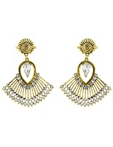 Donna Fashion White Rain Drops Gold Plated Dangler Earrings with Crystals for Women ER30088G