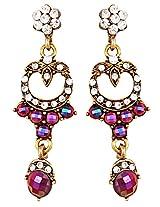 Beautiful earrings with dark pink n white stones