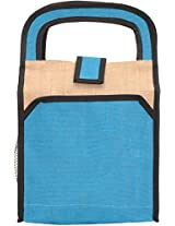 Empower Jute Cream And Blue Lunch Bag