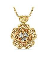 BlueStone Lattice Collection 18k Yellow Gold and Diamond Cher Pendant