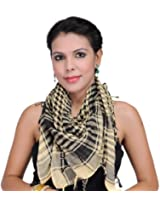 Exotic India Arafat Scarf with Woven Checks - Color StrawColor One Size fits most