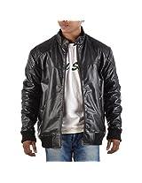 Yas Fashions Men's Regular Fit Leather Winter Jacket ( Y09-XXX Large_Black_XXX-Large )