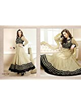 New Evelyn Sharma Latest Designer Cream Floor Length Anarkali Suit