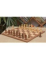 Chessbazaar Combo Of Staunton Series Sheesham Chess Pieces & Walnut Maple Board