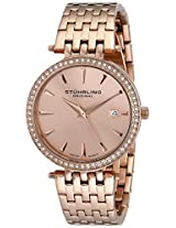 Stuhrling Original Women's 579.04 Soiree Swiss Quartz Swarovski Crystals Date Rose Tone Watch