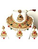 Golden Bridal Set with Necklace, Earrings, and Tika - Copper with Cut Glass