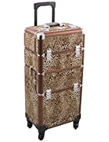 Hiker HK6501 4-Wheel 2-in-1 Rolling Makeup Case with Easy-Slide and Extendable Trays, Includes Removable Tray and Extra Lid, 31-Inch, Leopard Texture