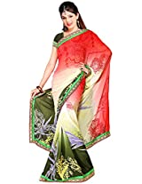 Shree Bahuchar Creation Women's Chiffon Saree(Skb32, Pink and Green)